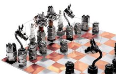 chess set made out of nuts and bolts | Hinz & Kunst 'Chess Set' Nut & Bolt Men Figure / Sculpture