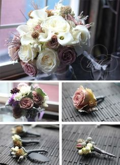 Taupe, lavender, champagne, dusky gray winter wedding.
