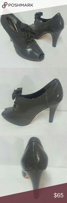 Saks Avenue patent leather peep-toe booties New 9 Saks Fifth Avenue booties new without. Size 9 medium, genuine patent / leather, heel is 4.2 inches. Thank you Saks Fifth Avenue  Shoes Ankle Boots & Booties