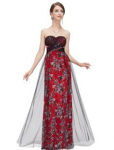 SEXYベアトップのレッド系ロングドレス - ロングドレス・パーティードレスはGN|演奏会や結婚式に大活躍!