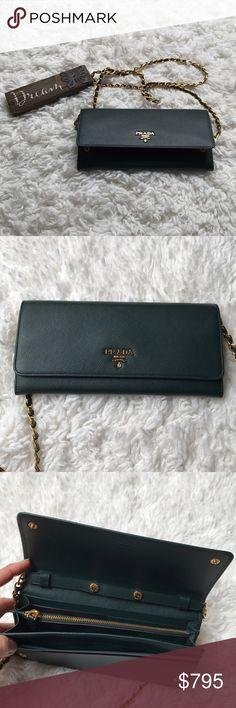 2593d835a908 🍀Prada Convertible Clutch Crossbody 🍀 Prada 1M1290 Saffiano Leather Snap  Wallet on Chain Convertible Clutch