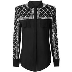 Pre-owned Balmain X H&m Black Beaded Silk Blouse Button Down Shirt ($322) ❤ liked on Polyvore featuring tops, black, button up shirts, black silk top, long shirts, black button up shirt and long black top