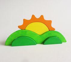 Sunrise Stacker  Waldorf Wooden Toy sun hills by Imaginationkids, $25.00