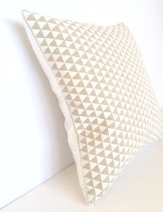 Linen White Triangle Print Cotswold Cushion - Angle