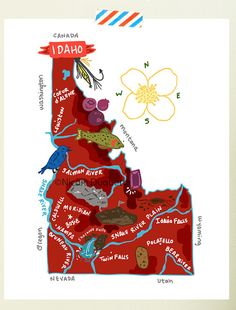 Forests, potatoes and ski slopes figure large in posters promoting Idaho over the years. This vintage artwork is from Idaho posters, postcards, brochures and illustrated maps — with some newer Tourism Poster, Travel Posters, Mccall Idaho, Map Globe, Boise Idaho, Coeur D'alene, Travel Illustration, Vintage Artwork, Le Far West