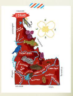 Idaho illustrated map by helloniccoco