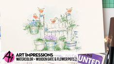 Ai Watercolor - Wooden Gate & Flower Pots 2 - YouTube