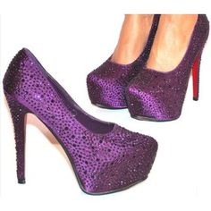 images of purple things | SPECIAL OFFER Purple Satin AB Crystal Platform Shoes (Red Sole) - £67 ...
