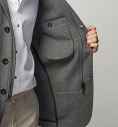 THREE POCKET BLAZER WITH SUEDE DETAILS