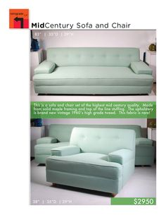 Mid Century Modern Sofa   New Upholstery
