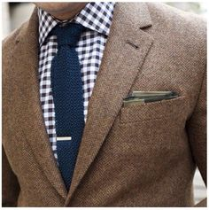 Blue gingham & brown. The Southern professor.