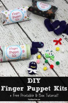 DIY Finger Puppet Kits For Kids! + Free Printable & Box tutorial using toilet paper tubes to make gift boxes. Great kids craft because it's easy and fairly mess-free!