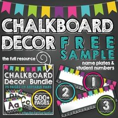 Chalkboard Decor [FREE SAMPLE] Name Plates & Student NumbersThis FREE SAMPLE includes 6 pages taken from the following bundle: Chalkboard Decor Bundle [600+ Pages of Premade & Editable Files]Sample pages include:  Name Plates: Write students names and attach to student desks or lockers.