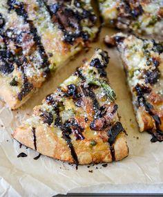 Springtime portobello, asparagus + prosciutto pizza with balsamic glaze