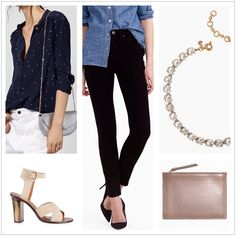 Using transitional pieces purchased on a previous shopping trip, update the clients evening wardrobe for the milder months. Silk blouse & heels: Intropia jeans: J. Crew, necklace: J. Crew, bag: & Other Stories