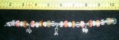 $25.00  Awareness Ribbon Bracelet Peach Cancer