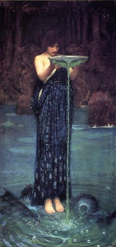 """Circe Invidiosa by John William Waterhouse (1892) In Greek mythology, Circe is a minor goddess of magic (or sometimes a nymph, witch, enchantress or sorceress), described in Homer's Odyssey as """"The loveliest of all immortals"""". In this picture Circe empties a bowl of green poison into the waters half standing on the already transformed Scylla into dreadful monster."""