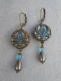 Victorian Button Earrings Vintage Repurposed Upcycled by Vinchique, $40.00