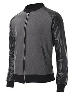 FLATSEVEN Mens Two Tone Varsity Bomber Baseball Jacket with Faux Leather Sleeve (VSJ302) Grey, L #FLATSEVEN #Jacket #outfit #varsity #stadium #baseball #outfit