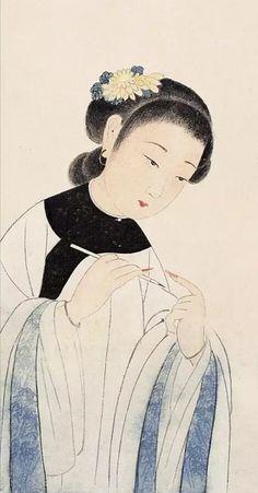 Artist: Li Qiujun 李秋君 1899-1973 via TW by Melody Wu (@melodywoo1983) | Twitter Grafic Art, Korean Illustration, Old Portraits, Indian Folk Art, Korean Art, China Art, Classical Art, Japan Art, Old Art