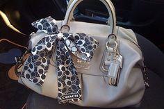 Coach handbag with scarf accent. Love purses especially Coach bags.