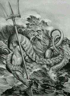 Poseidon being hoss Posseidon Tattoo, Kraken Tattoo, God Tattoos, Neue Tattoos, Chest Tattoo, Back Tattoo, Tatoo Manga, Greek God Tattoo, Art Visionnaire