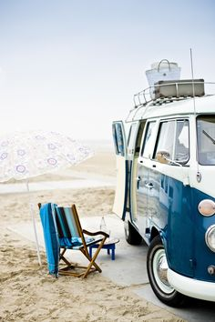 beach camping in the old VW bus