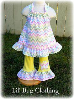 Custom Boutique Clothing  Easter Spring  Pastel Chevron Halter Leggings  Girl 12m 18m 2T 3T 4T 5T 6 7 8 Girl on Etsy, $39.99