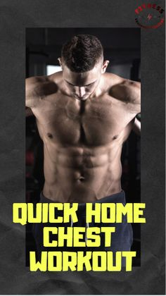 Get a quick effective chest workout at home, try the workout from the first installment of the quick home workout series! Don't sacrifice your gains because you're short on time! Fun Workouts, At Home Workouts, Chest Workout At Home, No Equipment Workout, Routine, Fitness, Home Workouts, Home Fitness
