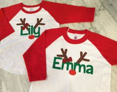 girls christmas shirt with red glitter bow, girls reindeer shirt, can be a boys reindeer shirt without the bow...