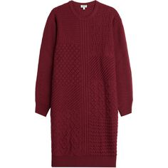 Kenzo Knitted Wool Dress ($269) ❤ liked on Polyvore featuring dresses, red, wool knit dress, kenzo dress, red dress, round neck dress and kenzo