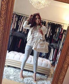 Chevron shirt blazer and white balenciaga bag Cute Spring Outfits, Pretty Outfits, Winter Outfits, Cute Outfits, Classy Casual, Casual Looks, White Balenciaga, Balenciaga Bag, I Love Fashion