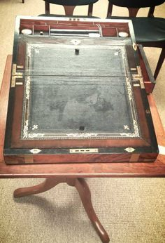 Superb large antique brass-bound walnut writing slope. Measures 18 inches x 11 inches x 9 inches.
