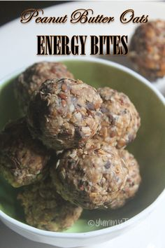 Healthy oats bites which has peanut butter in them which has lots of good stuff in them which is healthy for your body. This will be a great grab and go breakfast option.
