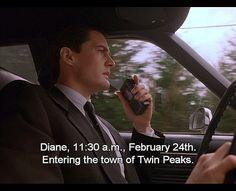 """Twin Peaks - Agent Dale Cooper (Kyle MacLachlan), """"Entering the town of Twin Peaks."""" ta-ta-daa-ta-tada-ta-daaa!"""