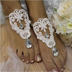 ROMANTIC Barefoot sandals, delicate white lace silver crystal wedding footless sandals | BF3
