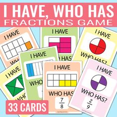 I Have Who Has Fractions Card Game