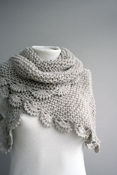 This is so pretty! plain garter stitch but then you had that pretty crochet border which transforms it! love the use of knitting and crochet! Knitted Shawls, Crochet Scarves, Crochet Clothes, Lace Shawls, Knit Or Crochet, Crochet Shawl, Crochet Granny, Hand Crochet, Knitting Projects