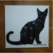 Button Art Black Cat