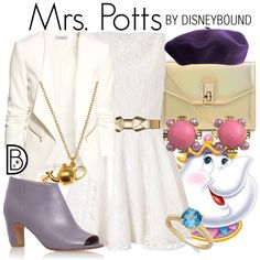 Mrs. Potts by leslieakay on Polyvore featuring Lipsy, H&M, Maison Margiela, Alex Monroe, Chanel, Victoria Townsend and Marni