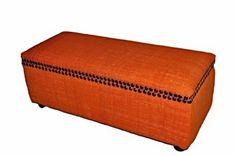Large Ottoman Seat Orange Kilim Storage Chest Trunk Pouf storage Box  #Handmade #Moroccan