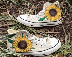 Custom Hand-Painted Sunflower Toms by EtsyByVeasey on Etsy