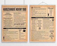noviny k narozeninám 1969 - na stěně dvě strany Event Ticket, Journal, Retro, Diy, Posters, Bricolage, Do It Yourself, Poster, Retro Illustration