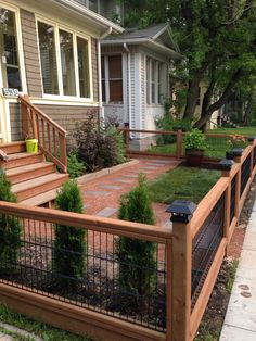 red shale, barkman bridge wood pavers, small front yard, decomposed granite, hog panel fence