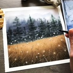 Watercolor Paintings For Beginners, Watercolor Art Lessons, Watercolor Landscape Paintings, Watercolor Video, Carillons Diy, Easy Canvas Art, Guache, Art Drawings, Illustrations