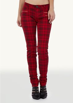 Red Plaid Moto Pant | Bottoms | rue21