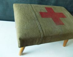 Upholstered Vintage Footstool : Red Cross on Army Green Canvas Military Bedroom, Military Home Decor, Army Bedroom, Army Decor, Bedroom Green, Military Style, Master Bedroom, Boys Army Room, Boy Room