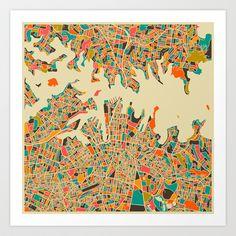SYDNEY Map Art Print by Jazzberry Blue - $19.00