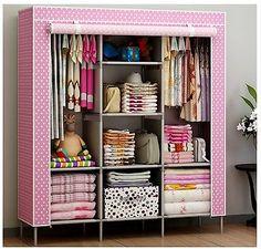 New Portable Bedroom Furniture Clothes Wardrobe Closet Storage Cabinet Armoires