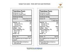 Sample food labels for children to cut out and use as part of ...